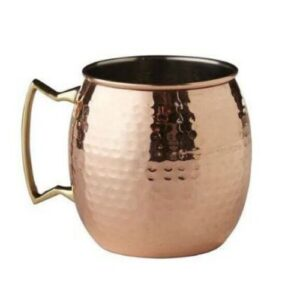 Hammered Pure Copper Mugs with Brass Handles